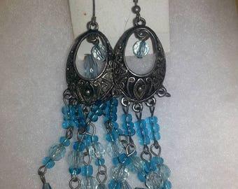 B#004...Handmade silver and blue dangling earrings