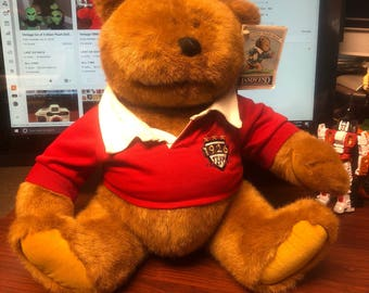 "Vintage 1996 Lands End Rugby Bear Plush by Gund Limited Edition 16"" tall"