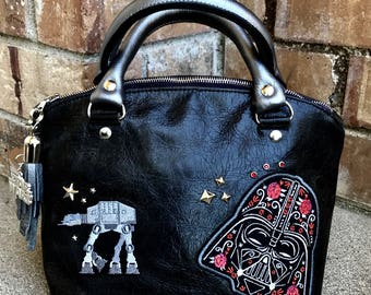 Dark Side Embellished Leather Handbag
