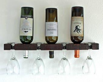 Wine Rack, Wall Mounted Wine Rack, Small Wine Rack Holds 3 Bottles & 4 Glasses