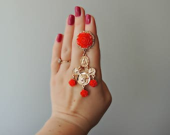 Earrings Dolce style - Roses & Coins