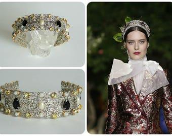 Crown  Baroque style  -  Silver&Black