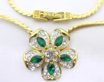 Vintage Signed Attwood & Sawyer Flower Green Clear Rhinestone Paste Gilt Glittering Necklace