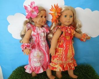 "Hawaiian Dress for your 18 inch Doll like American Girl®;""Pineapple"" Hawaiian Dress; Wristlet; Orange Flower Barrette; Muu muu."