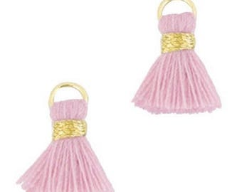 Beaded tassels, tassels, tassel pendant-1.5 cm-3 pcs.-Color selectable (color: vintage pink)