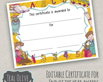Class Award Certificate Printables |  End of the School Year Awards |  DIY Printable | Instant Download