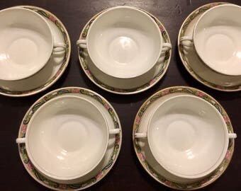Antique Johnson Bros China England Set of 5 Saucers and Double Handled Cups Replacement Johnson Brothers