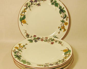WOODHILL SALAD PLATE Set of 4 Dessert/Bread Floral Design Retired Pattern 1980's by Citation