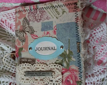 Handmade journal. Vintage style journal. Fabric covered journal