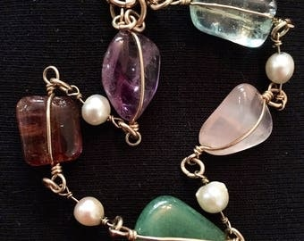 Wire Wrapped Semi Precious Stone & Pearl Bracelet