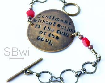 edward abbey bracelet in bronze with mint detail