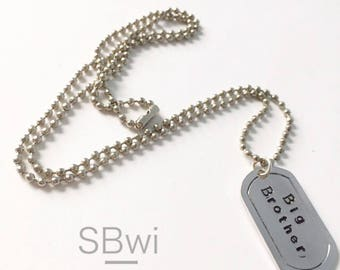 BIG BROTHER necklace in pewter with accent name pendant