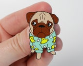Loulou the Pug Pin | Hard Emaille Pin | Mopshond Broche | Nais Products