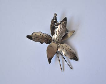 "Vintage Art Deco Mexico Sterling Silver Signed ""AR"" Etched Flower Brooch Pin"