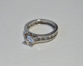 Vintage Sterling Sliver 925 Faceted Clear Cubic Zirconia High Setting Engagement Ring Size 6