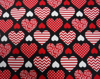 16 x 16 Valentine Theme Throw Pillow - Your Choice Of Pillow Cover Only Or A Completed Pillow - Assorted Hearts On Black