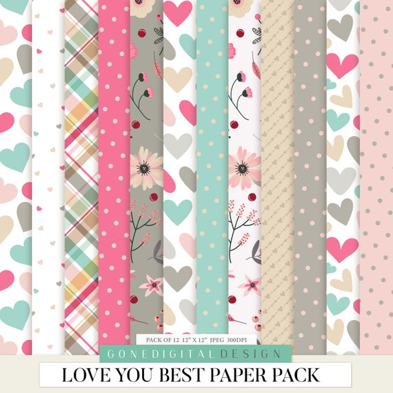Love Digital Love Paper Love Patterns Valentine Art Love Scrapbook