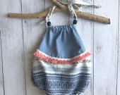 Halter Boho Romper - Cream and Blue Mexican Weave with Denim, Pink Fringing and Lace Sizes 0000 to 2