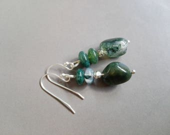 MOSS Agate earrings and sterling silver