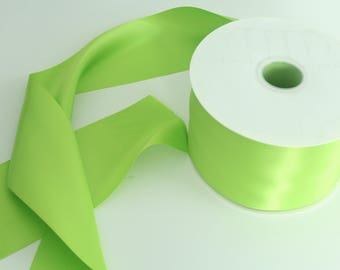 Apple Green Ribbon By The Yard / Double Faced Ribbon  / Ribbon by the yard / Bridal Ribbon / Apple Green