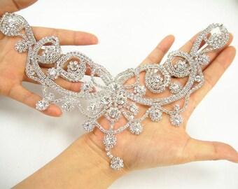 Diamante Applique Sweet heart rhinestone applique, bridal Sash applique, Bridal Dress Applique, V Neck Crystal wedding applique