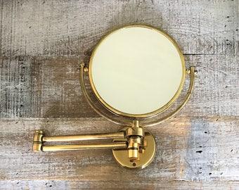 Wall Mirror Brass Mirror Brass Accordion Mirror Scissor Arm Round Vanity Mirror Antique Shaving Mirror Double Sided Mirror Magnifier