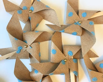 Kraft Paper Blue Dot Pinwheel Cupcake Toppers/Cake Picks/Rustic Wedding Cupcake Toppers