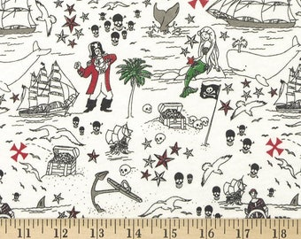 Pirate print knit fabric by the yard, knit fabric for boys, pajama knit fabric, nautical knit fabric, mermaid knit fabric,cotton knit fabric