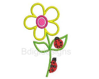 Flower with Lady Bugs Applique Embroidery Design