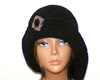 On Sale- Black Cloche Hat  Flapper Womens Button Downton Abbey Freeform Beanie Crochet Gatsby Bucket 1920s Style