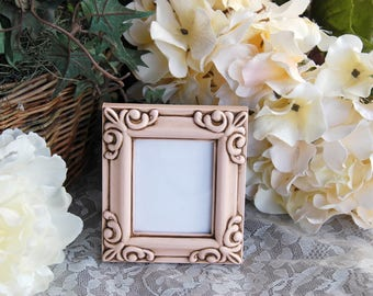 Shabby cottage chic home: Small vintage blush pink hand-painted decorative tabletop picture frame w/ easel back
