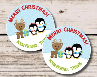 Penguin Christmas Tag, Reindeer Merry Christmas Tag, Digital Christmas Tag, Kids ChristmasTag, Holiday gift tags, Christmas Gift Tag