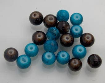 Pack of 20 // Blue and brown beads // 6mm