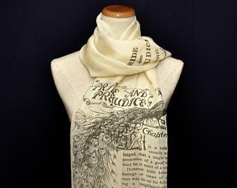 Pride and Prejudice Chiffon scarf, summer scarf, light scarf, Spring scarf