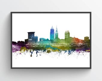 Cleveland Poster, Cleveland Skyline, Cleveland Cityscape, Cleveland Print, Cleveland Art, Cleveland Decor, Home Decor, Gift Idea, USOHCL01P