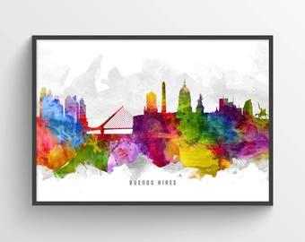 Buenos Aires Skyline Poster, Buenos Aires Cityscape, Buenos Aires Print, Buenos Aires Art, Buenos Aires Decor, Home Decor, ARBA13P