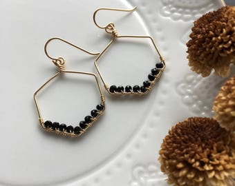hexagon black spinel earrings