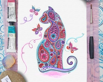 Pretty Paisley Cat and Butterfly Print