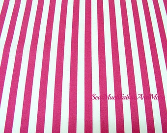 Magenta Pink & White Stripe fabric~by the yard~Waverly Inspirations~cotton