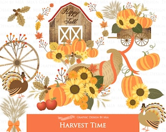 Harvest Time / Autumn / Fall Clip Art - Instant Download - CA164