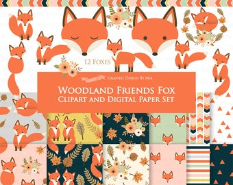 30% off Red Fox / Woodland Friends / Fox / Autumn / Fall Clip Art + Digital Paper Set - Instant Download
