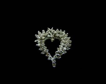 Womens Vintage Estate 14K White Gold Heart Diamond Pendant 3.3g E3398