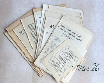 Titles, Contents, Index 26: vintage pages paper ephemera pack. Black and white pieces. Art supply.