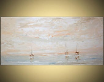 Large 24 x48 inches Abstract Seascape Painting Original  Oil on canvas,Brown Yellow  pink