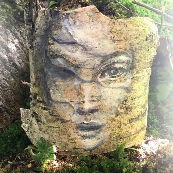 Awaken Birch Bark Original Painting Woodland Theme Table Art woman's face nature natural