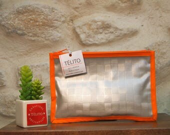 Silver and orange Plaid oilcloth pouch