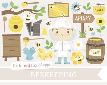 Beekeeping Clipart, Honey Clip Art, Beehive Clipart, Honey Bee Clipart, Honeycomb Clipart, Digital Graphic Design Small Commercial Use