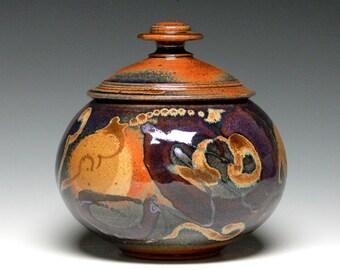 Stoneware Cremation Urn, Lidded Jar, Covered Jar, Pottery Urn, Ceramic Pet Urn, Kitchen Storage Jar, Cookie Jar