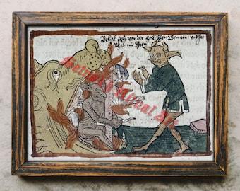 Belial print, Belial demon poster, satanic art, Satan, Lucifer, Hell, occult illustration, Satanic decor #491