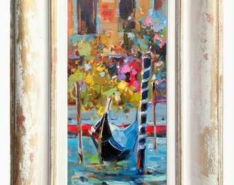 "Italian painting ""The Gondola"" Venice Venezia Italy Italia original oil canvas of Gioia Mannucci home decor"